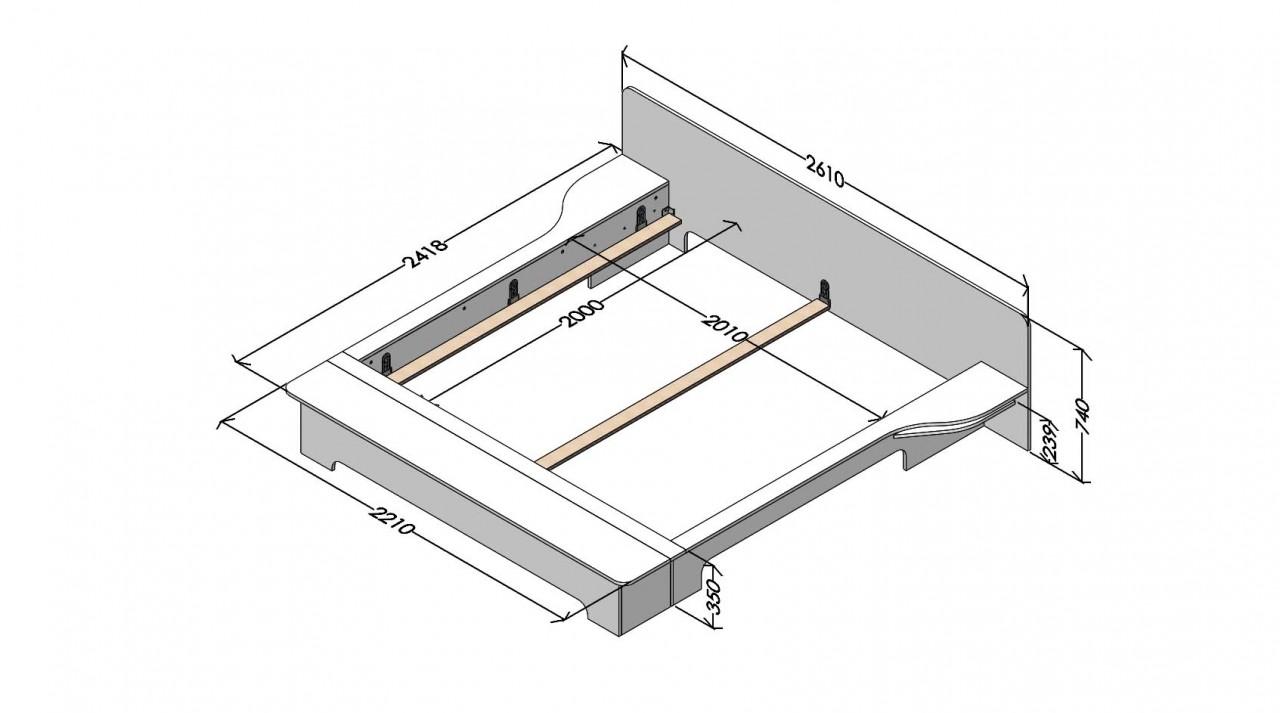 Plane Doppelbett weiß mit Bettkasten