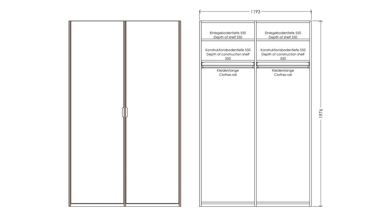 Modular Anbaubar Kleiderschrank Version 2 Ausstattung 2