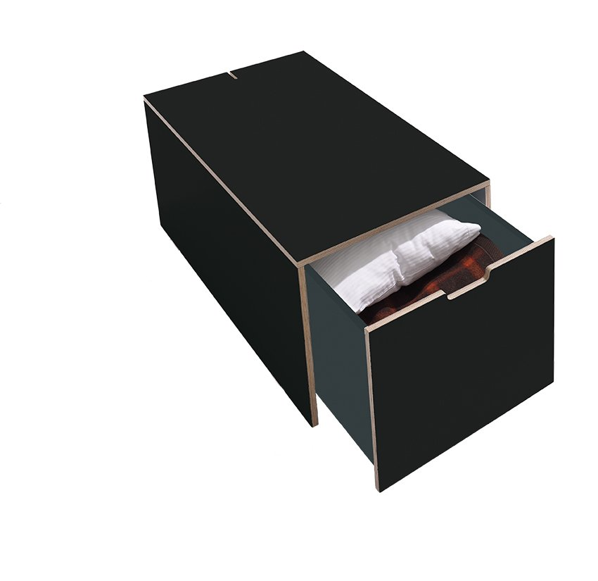 Bettkasten16 Klassik mit Schubkasten schwarz matt