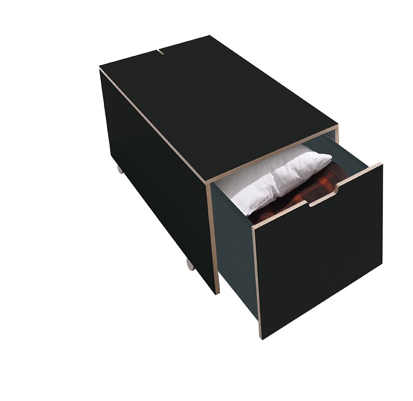 Bettkasten16 Komfort mit Schubkasten schwarz matt