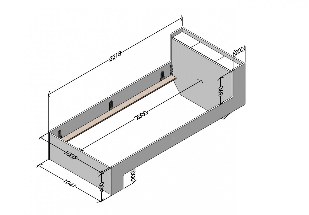 Nook Einzelbett Anthrazit, Maße 100 x 200 cm