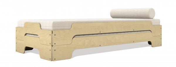 Stapelliege Komfort Birke zwei gestapelte Liegen mit Matratze und Nackenkissen