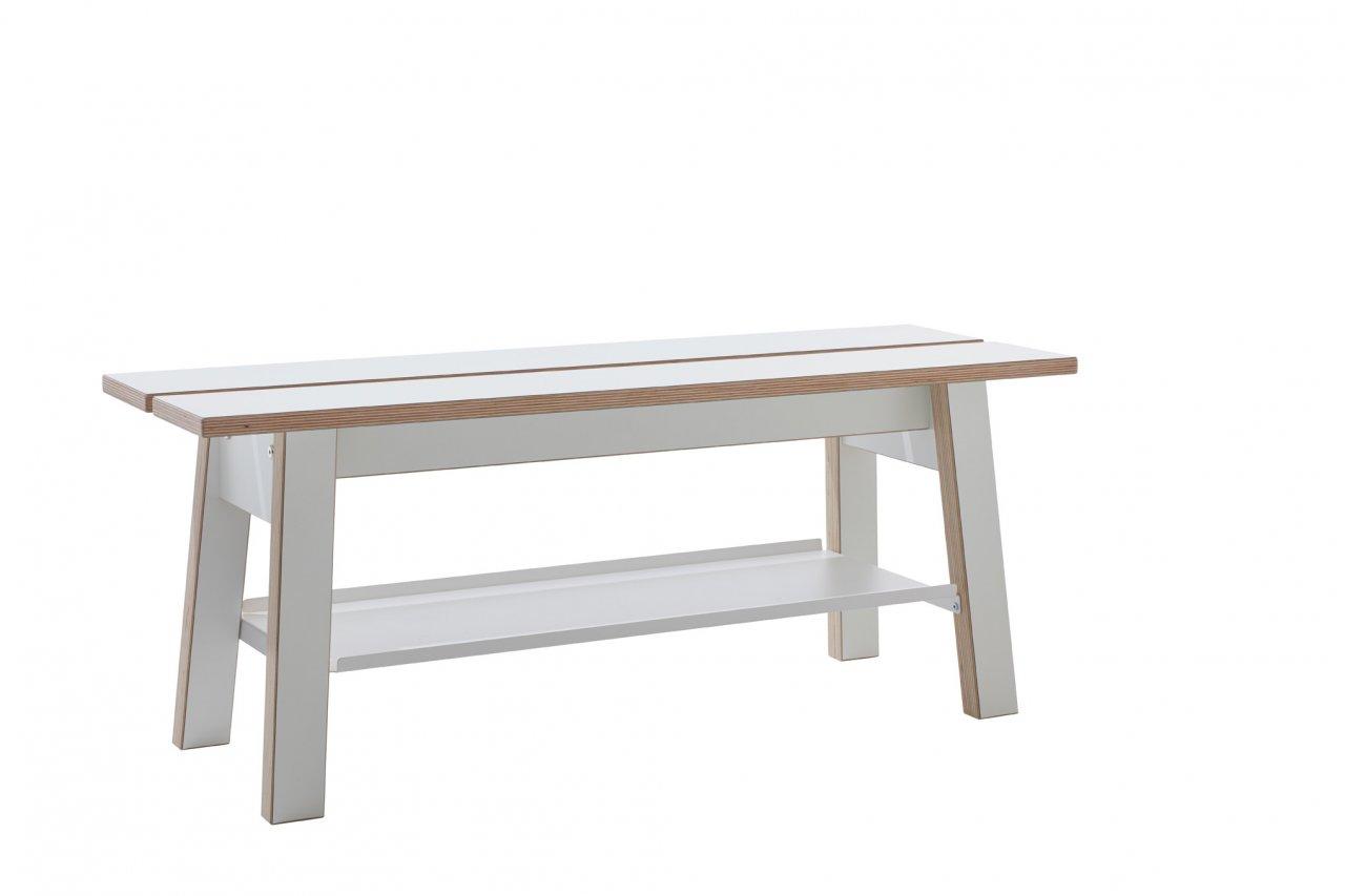 Corobench Sitzbank mit Ablage weiß