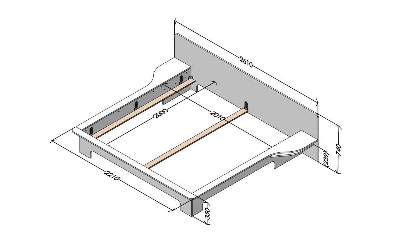Plane Doppelbett weiß