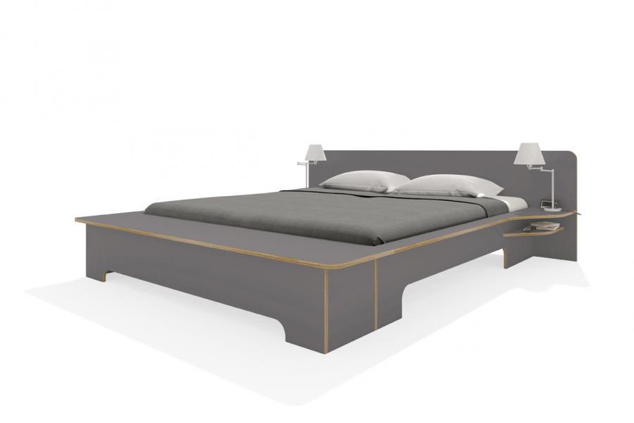 PLANE Doppelbett anthrazit mit Bettkasten