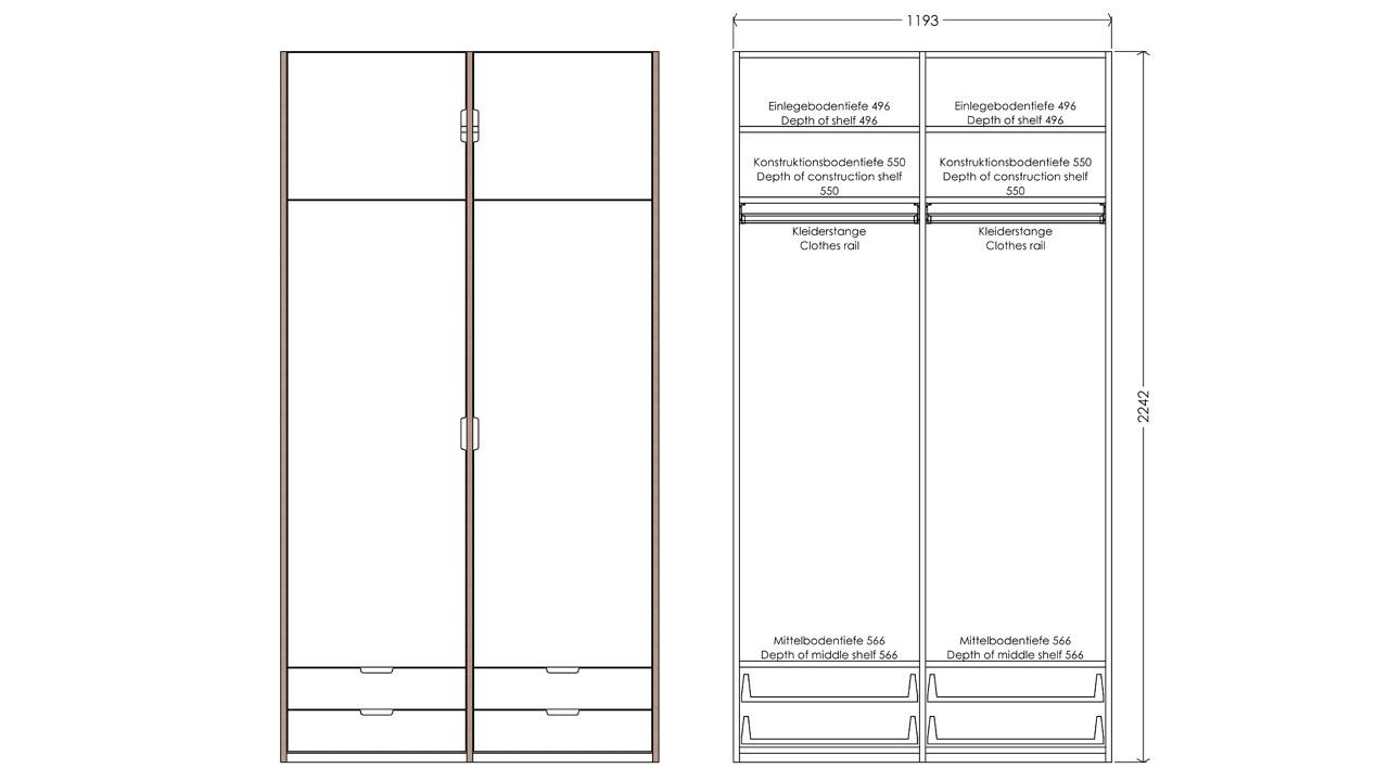 Modular Anbaubar Kleiderschrank Version 3 Ausführung 1