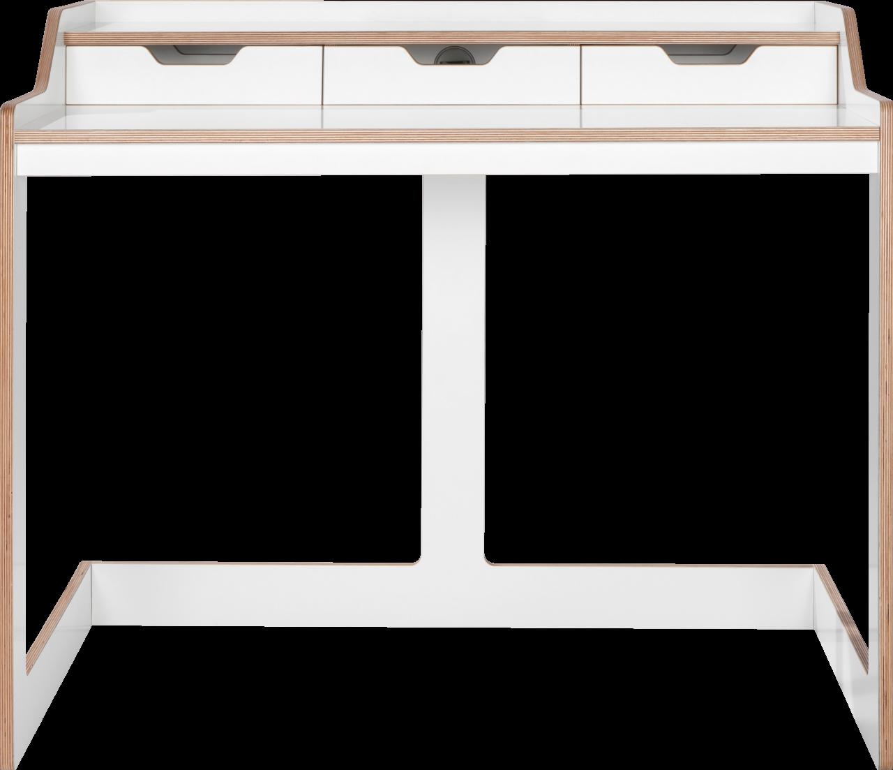 Plane Schreibtisch / Sekretär in weiß