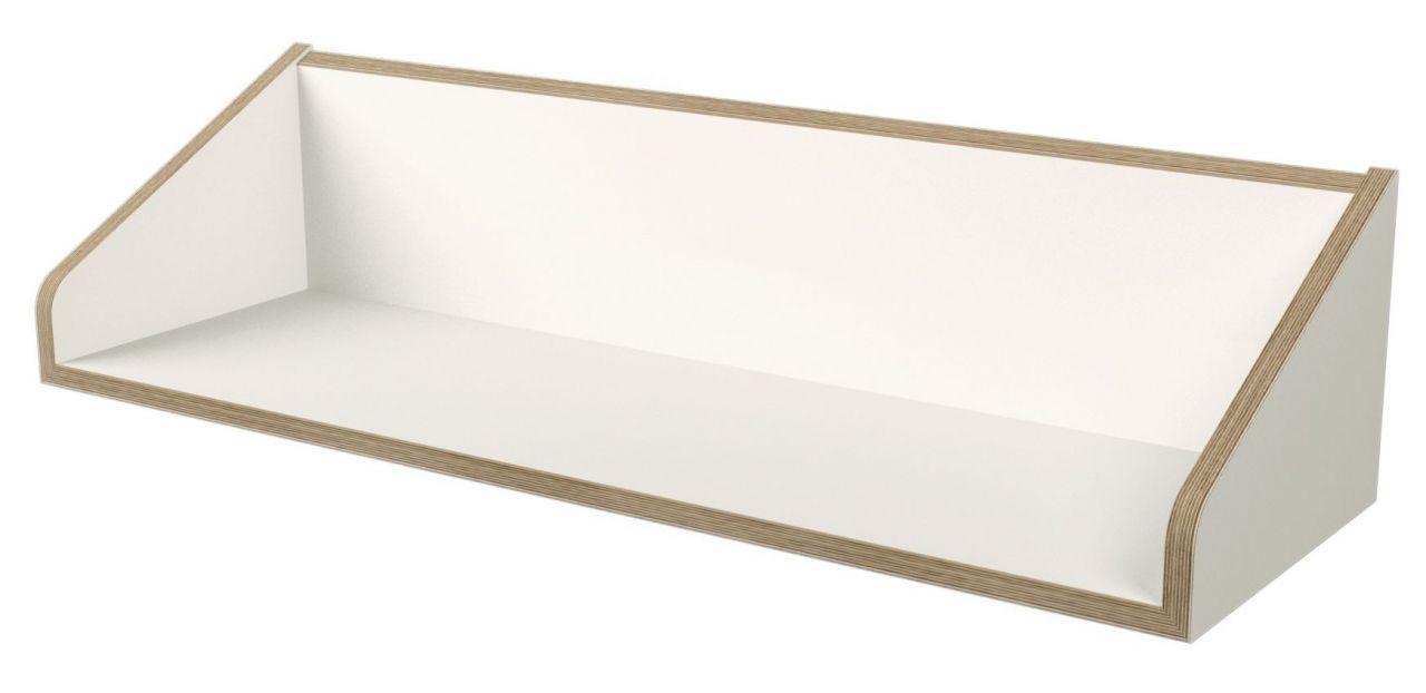 Twofold Wandregal in weiß mit Birkenschichtholzkante