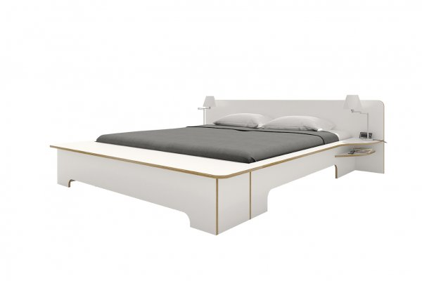 Plane Doppelbett, Weiß mit Bettkasten