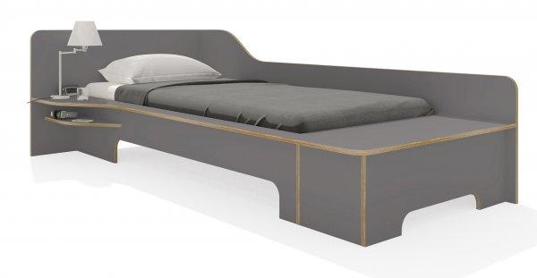 Plane Einzelbett anthrazit mit Bettkasten