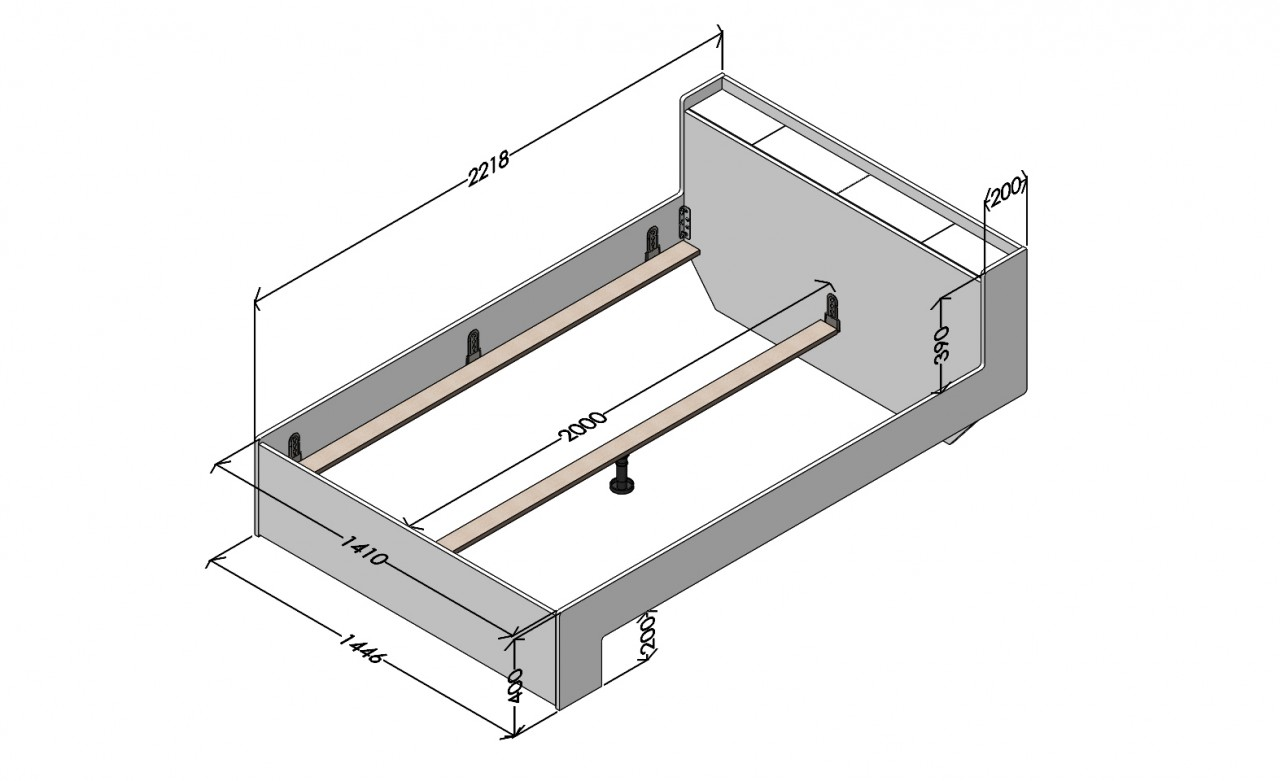 Nook Doppelbett Weiß, Maße 140 x 200 cm